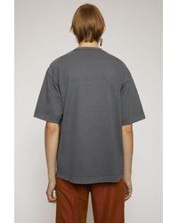 Acne Gray Reverse-logo T-shirt slate Grey for men