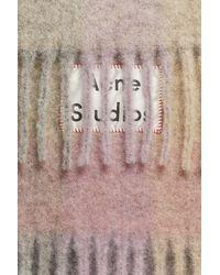 Acne Multicolor Fn-ux-scar000029 Fuchsia/lilac/pink Multi Check Scarf
