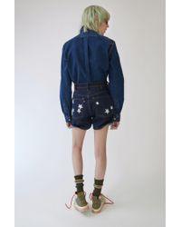 Acne Blue Denim Shorts star Print