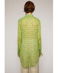 Acne Floral-print Chiffon Blouse fern Green
