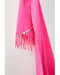 Acne Narrow Wool Scarf pink/fluo Pink