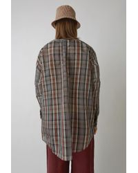 Acne Brown Maxi Fit Shirt rust Orange Check for men