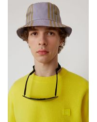 Acne - Multicolor Buk Face Tech Str Purple/khaki Bucket Hat for Men - Lyst