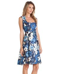 kate spade new york Blue Autumn Floral Scoop Neck Dress