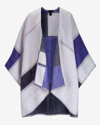 Ted Baker Blue Checked Scarf Cape