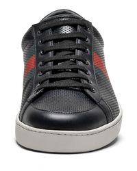 Gucci - Black Perforated Leather Web Sneaker for Men - Lyst