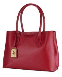 Lauren by Ralph Lauren - Red Leather City Shopper Tote - Lyst