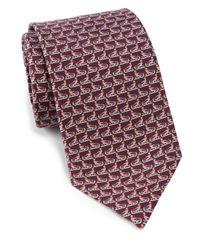 Ferragamo Purple Butterflyprint Silk Tie Magenta for men