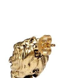 Ela Stone - Metallic 'arie' Lion Head Onyx Brass Stud Earrings - Lyst