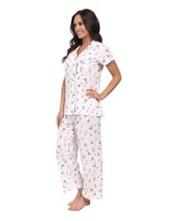 Carole Hochman | Red Printed Notch Collar Short Sleeved Pajama Set | Lyst