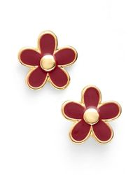 Marc By Marc Jacobs | Metallic 'carry Forward' Flower Stud Earrings - Garnet | Lyst