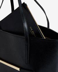 Ted Baker | Black Pocket Detail Leather Shopper Bag | Lyst