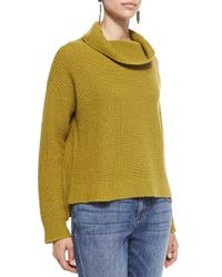 Eileen Fisher - Green Super-Soft Funnel-Neck Ribbed Top - Lyst