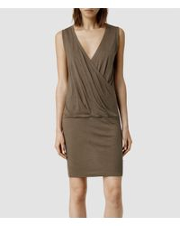 AllSaints | Brown Kerin Dress | Lyst