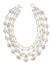 Margo Morrison   Metallic Five-strand Pearl & Crystal Necklace   Lyst