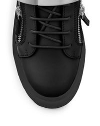 Giuseppe Zanotti - Black Leather Low-top Banded Sneakers for Men - Lyst