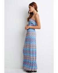 Forever 21 | Blue Strapless Print Maxi Dress | Lyst