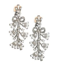 Oscar de la Renta Metallic Floral Crystal Clip-on Drop Earrings