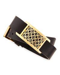 Tory Burch | Black Kinsley Double-wrap Leather Bracelet | Lyst