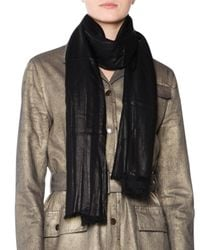 Tomas Maier - Black Clifton Striped Gauze Fringe Scarf - Lyst