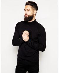 ASOS - Black Roll Neck Jumper In Cashmere Blend for Men - Lyst