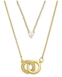 ABS By Allen Schwartz | Metallic Gold-Tone Crystal And Interlocking Circle Two-Row Necklace | Lyst
