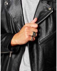 ASOS - Metallic Signet Ring Pack In Silver for Men - Lyst