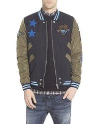 DIESEL - Black 'tendency' Applique Baseball Jacket for Men - Lyst