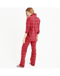 J.Crew Red Classic Tartan Flannel Pajama Set