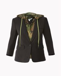 Veronica Beard - Black Schoolboy Jacket With Camo Hoodie Dickey - Lyst