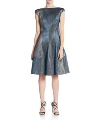 Talbot Runhof - Blue Glaze Checker A-line Dress - Lyst
