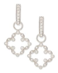 Jude Frances | White Open Marquise Pave Diamond Clover Earring Charms | Lyst