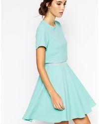 ASOS | Red Crepe Crop Skater Dress | Lyst