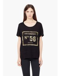 Mango - Black Printed T-shirt - Lyst