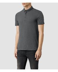 AllSaints - Gray Henning Polo Shirt for Men - Lyst