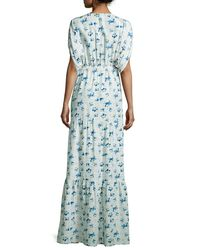 Vilshenko - Blue Floral-print Dolman-sleeve Gown - Lyst