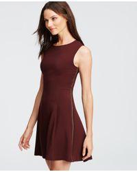 Ann Taylor | Red Braid Seamed Flare Dress | Lyst
