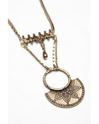Free People   Brown Lotus Layered Necklace   Lyst