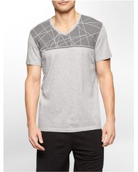 Calvin Klein | Gray White Label Performance Geometric Print V-neck T-shirt for Men | Lyst