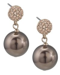 Carolee | White Large Glass Pearl Double Drop Earrings | Lyst