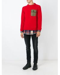 DSquared² Red Shirt Hem Sweater for men