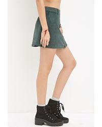 Forever 21 | Green Zippered Faux Suede Skirt | Lyst