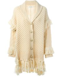 Philosophy Di Lorenzo Serafini - Natural Chunky Knit Fringed Long Cardigan - Lyst