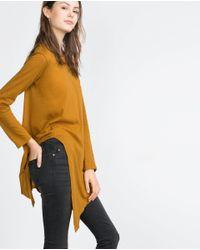 Zara | Orange Pointed Hem Top | Lyst