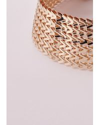 Missguided - Metallic 70's Chain Link Choker Gold - Lyst
