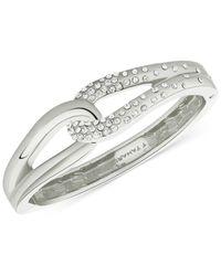 T Tahari | Metallic Silver-tone Crystal Pavé Knot Hinge Bracelet | Lyst