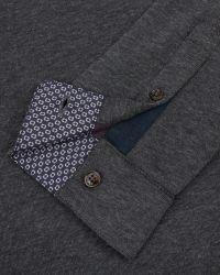 Ted Baker | Gray Long Sleeved Polo Shirt for Men | Lyst
