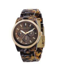 Michael Kors Mk5038 Ritz Gold-plated And Tortoiseshell-acrylic Watch, Women's, Brown Tortoise