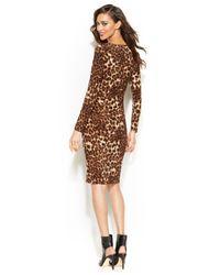 INC International Concepts Multicolor Long-Sleeve Leopard-Print Sheath Dress