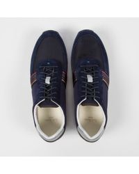 Paul Smith Blue Navy And Graphite Suede 'Moogg' Trainers for men